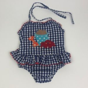 NWT Gymboree A Pop of Daisies Blue Polka Dot One Piece Swimsuit Sz 18-24 or 2T